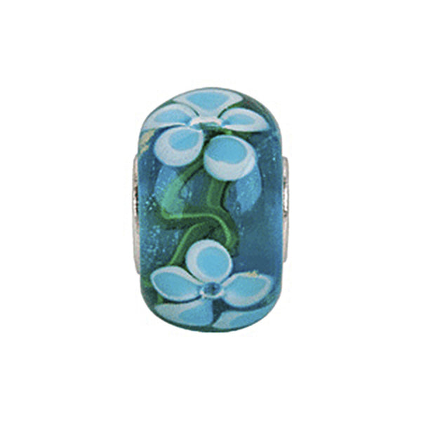 Kera Blue Turquoise Flower Glass Bead