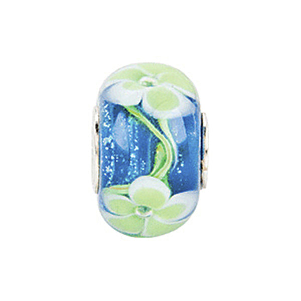 Kera Blue with Green Flower Glass Bead