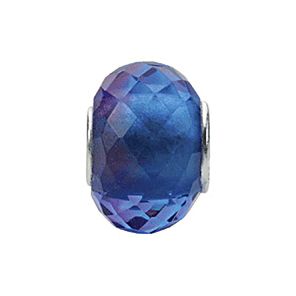 Kera Blue Purple Faceted Glass Bead
