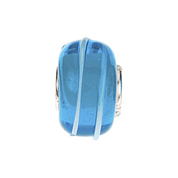 Kera Blue Stripe Glass Bead