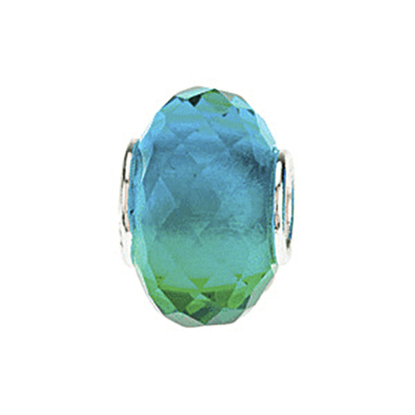 Kera Blue Green Faceted Glass Bead