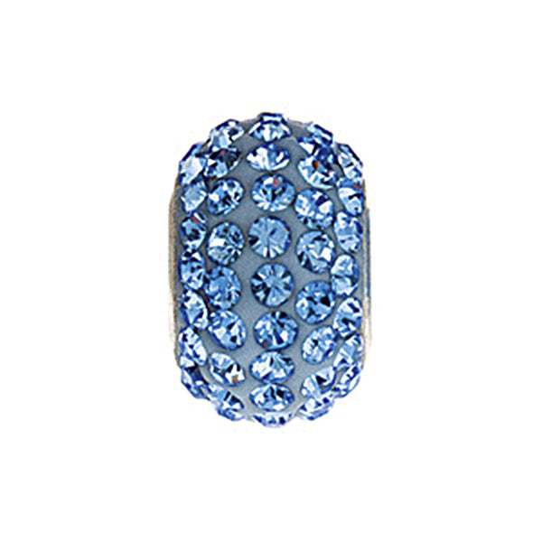 Kera Roundel Bead with Pave Light Sapphire Crystals