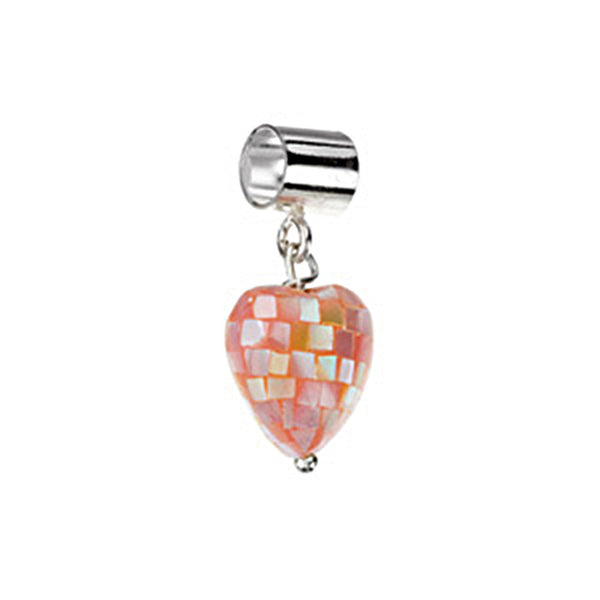 Kera Mother of Pearl Pink Heart Dangle