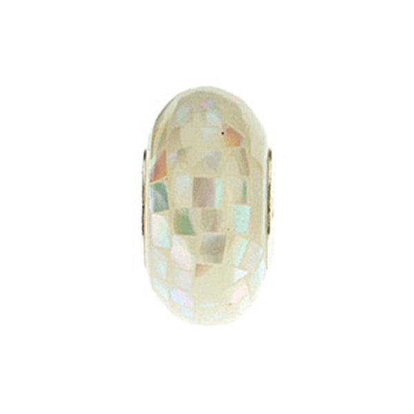 Kera White Mosaic Mother of Pearl Bead