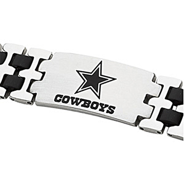 Stainless Steel Dallas Cowboys Rubber Logo ID Bracelet