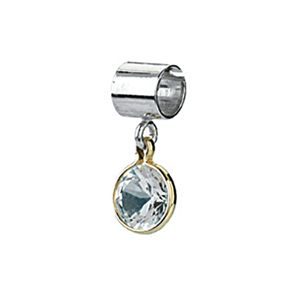 Kera Sterling Silver 14K Gold April Birthstone Bead