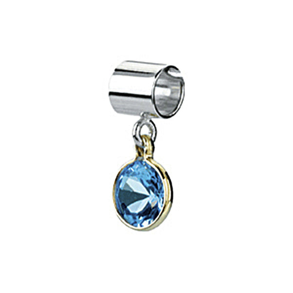Kera Sterling Silver 14K Gold March Birthstone Bead
