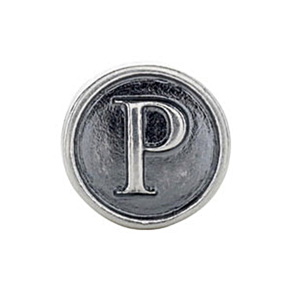 Kera Sterling Silver Alphabet Letter P Bead