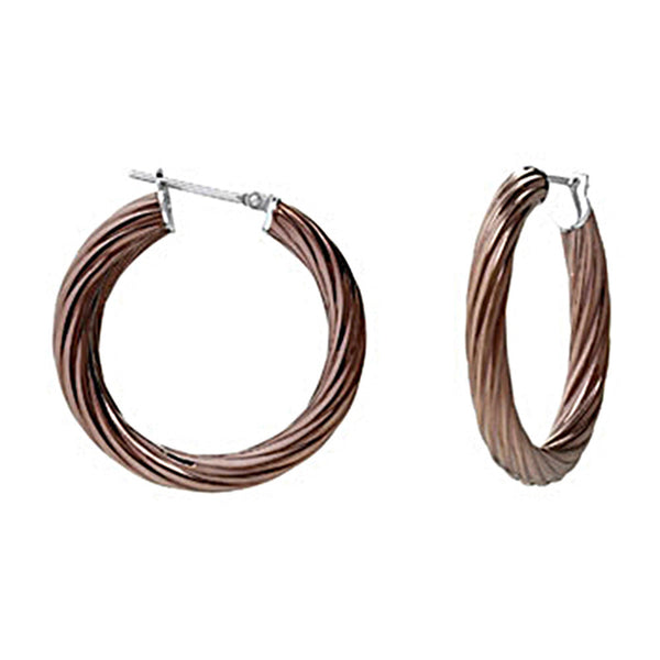 Chocolate Immersion 25mm Stainless Steel Twisted Hoop Earrings