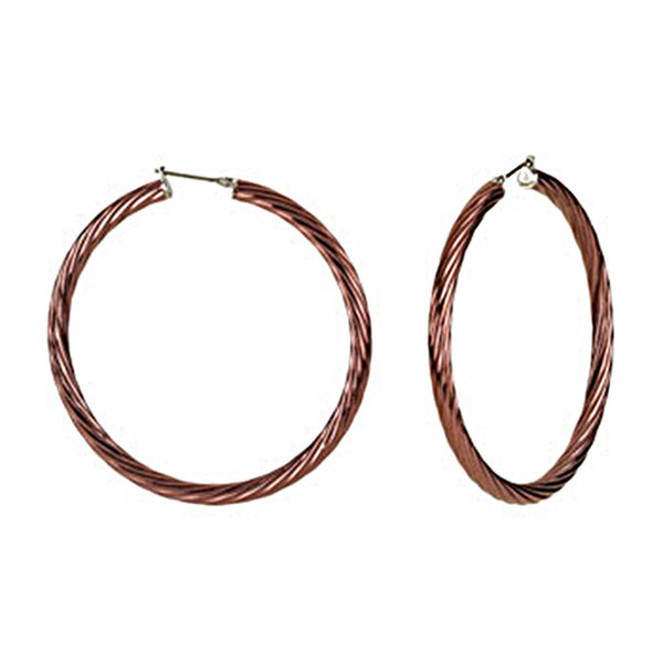 Chocolate Immersion 50mm Stainless Steel Twisted Hoop Earrings