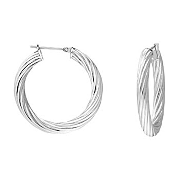 Silver Immersion 25mm Stainless Steel Twisted Hoop Earrings