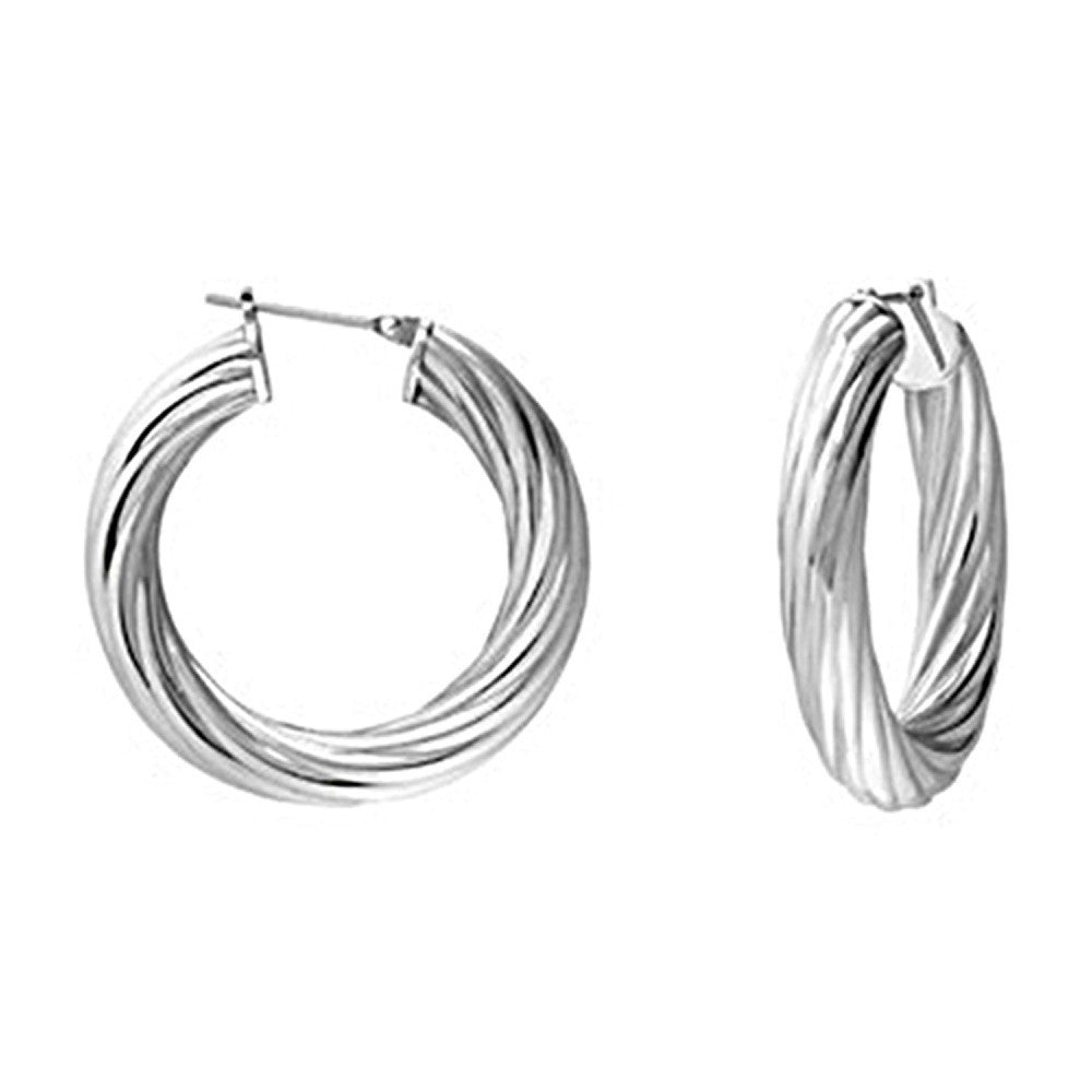 54e68e8d5 Silver Immersion 25mm Stainless Steel Twisted Hoop Earrings ...
