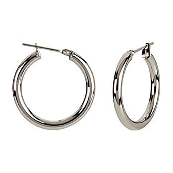 Silver Immersion 20mm Stainless Steel Hoop Earrings-3mm