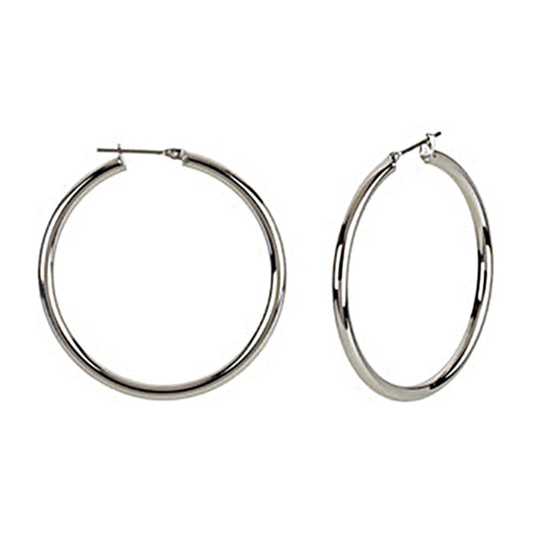 Silver Immersion 40mm Stainless Steel Hoop Earrings-3mm