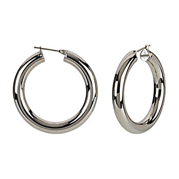 Silver Immersion 40mm Stainless Steel Hoop Earrings-6mm