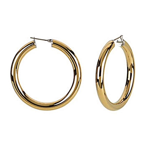 Gold Immersion 40mm Stainless Steel Hoop Earrings-6mm