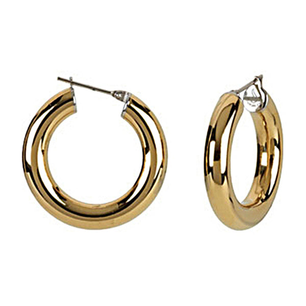 Gold Immersion 20mm Stainless Steel Hoop Earrings-6mm