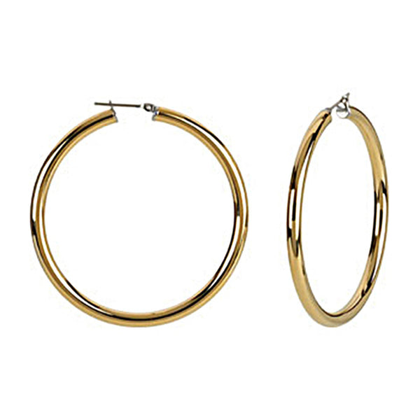 Gold Immersion 50mm Stainless Steel Hoop Earrings-4mm