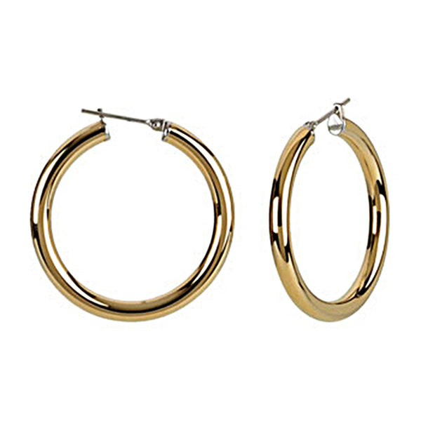 Gold Immersion 30mm Stainless Steel Hoop Earrings-4mm