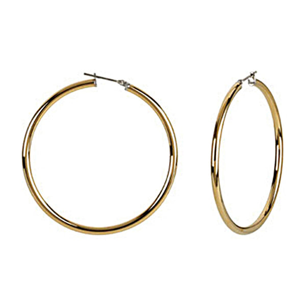 Gold Immersion 50mm Stainless Steel Hoop Earrings-3mm
