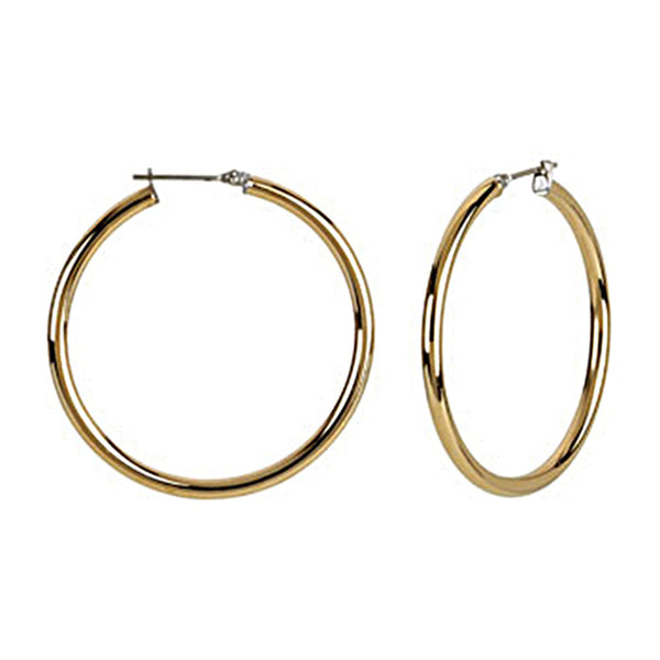 Gold Immersion 40mm Stainless Steel Hoop Earrings-3mm