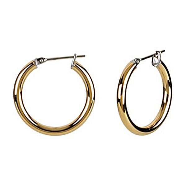 Gold Immersion 20mm Stainless Steel Hoop Earrings-3mm
