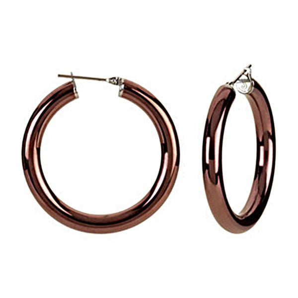 Chocolate Immersion 30mm Stainless Steel Hoop Earrings-5mm