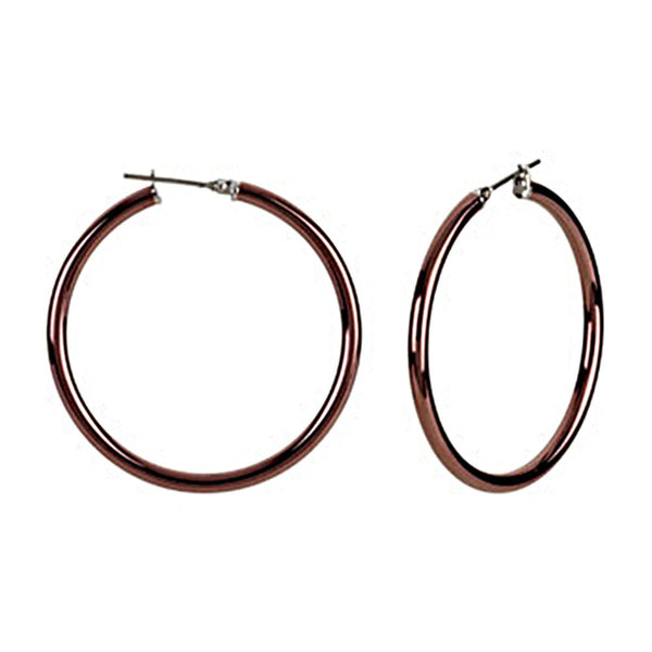 Chocolate Immersion 40mm Stainless Steel Hoop Earrings-3mm