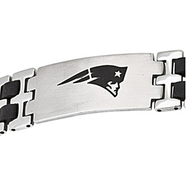 Stainless Steel New England Patriots Rubber Logo ID Bracelet