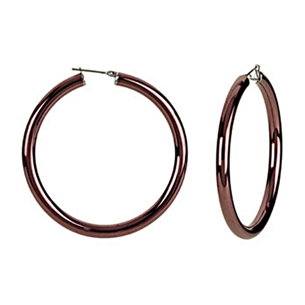 Chocolate Immersion 50mm Stainless Steel Hoop Earrings-5mm