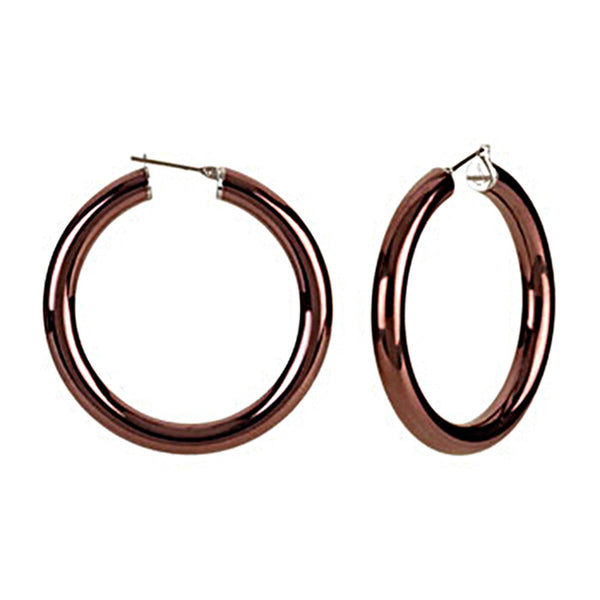 Chocolate Immersion 40mm Stainless Steel Hoop Earrings-6mm