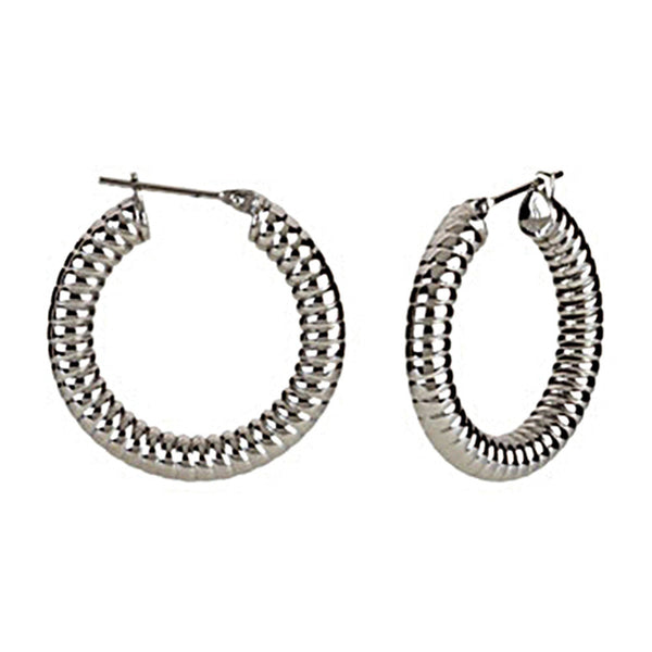 Silver Immersion 20mm Stainless Steel Shrimp Hoop Earrings-5mm