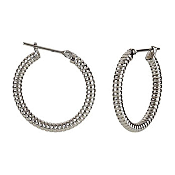 Silver Immersion 20mm Stainless Steel Shrimp Hoop Earrings-3mm