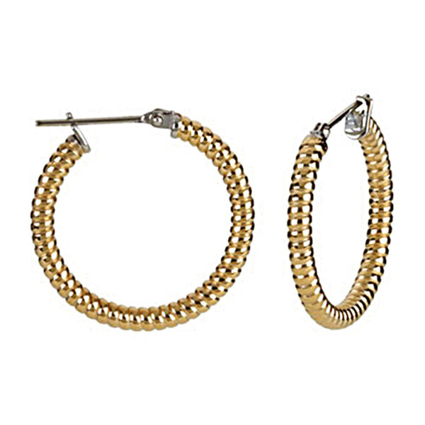 Gold Immersion 20mm Stainless Steel Shrimp Hoop Earrings-3mm