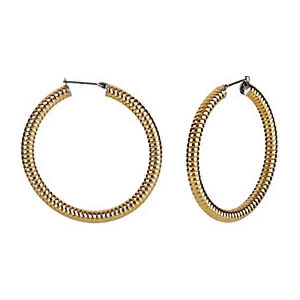 Gold Immersion 40mm Stainless Steel Shrimp Hoop Earrings-5mm