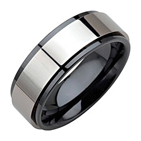 Black Ceramic Polished Band Ring