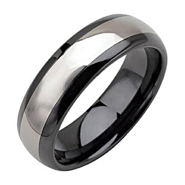 Black Ceramic Tungsten Inlay Dome Ring