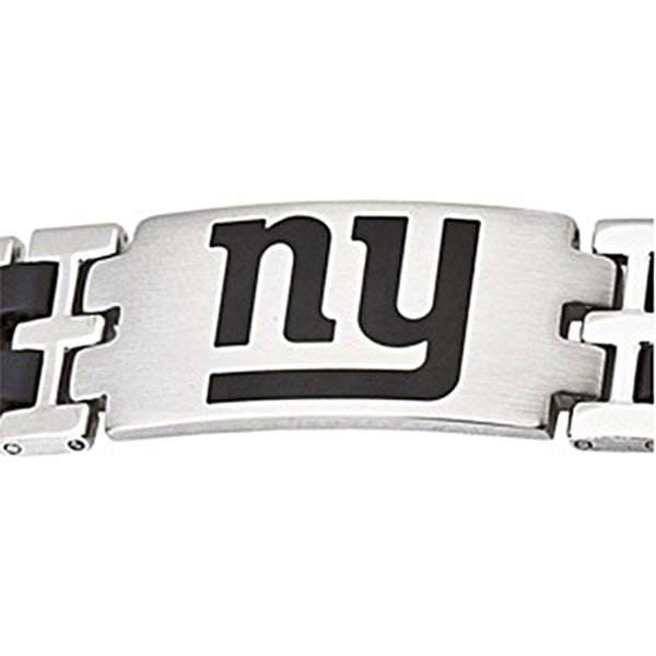 Stainless Steel New York Giants Rubber Logo ID Bracelet