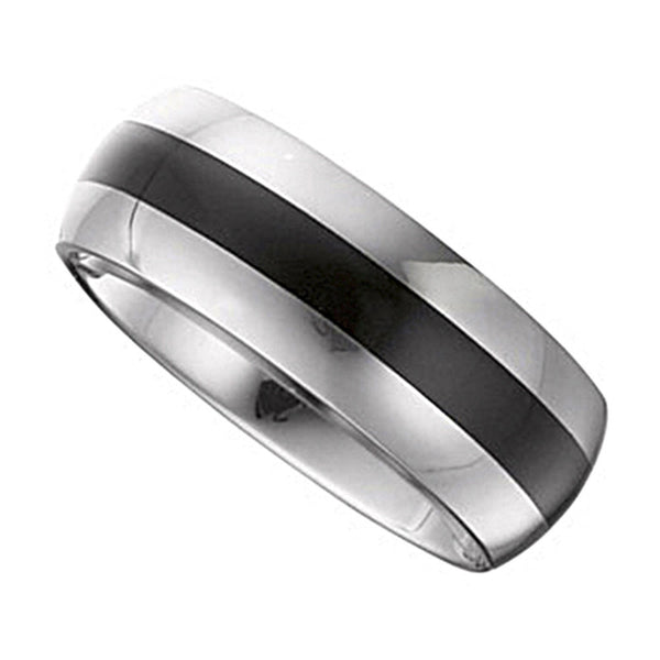 Tungsten Black Enamel Ring Domed Band 8.3mm