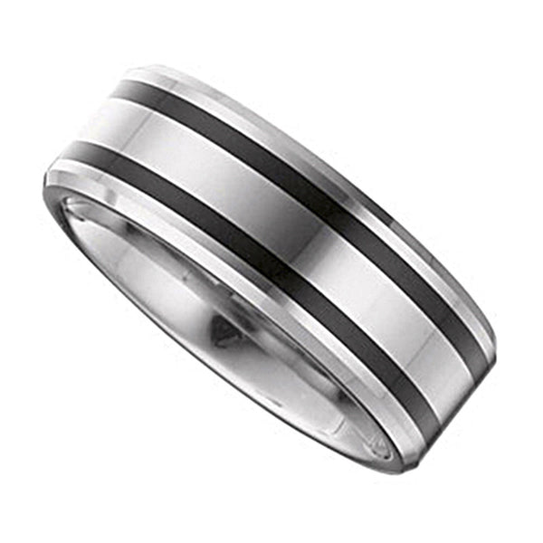 Tungsten Black Enamel Ring