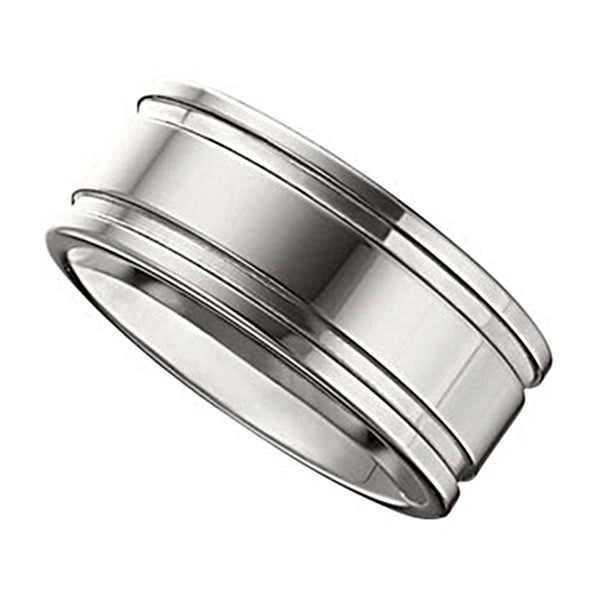 10mm Tungsten Grooved Flat Band Ring