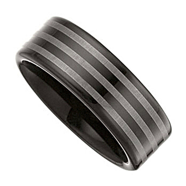 Black Immersed Tungsten Striped Ring