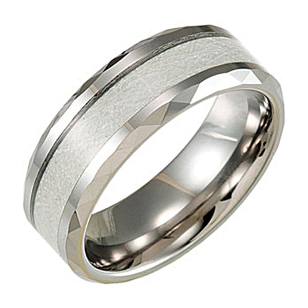 Tungsten White Carbon Fiber Beveled Ring