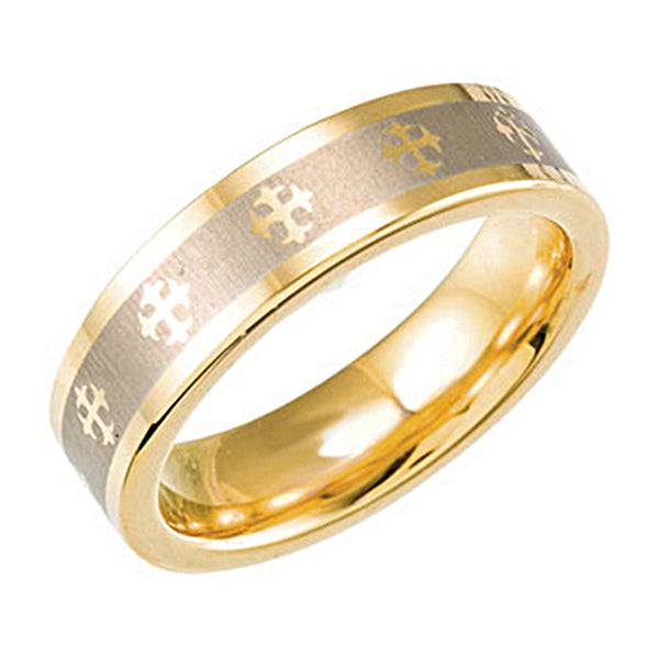 Gold Immersion Plated Tungsten Cross Ring