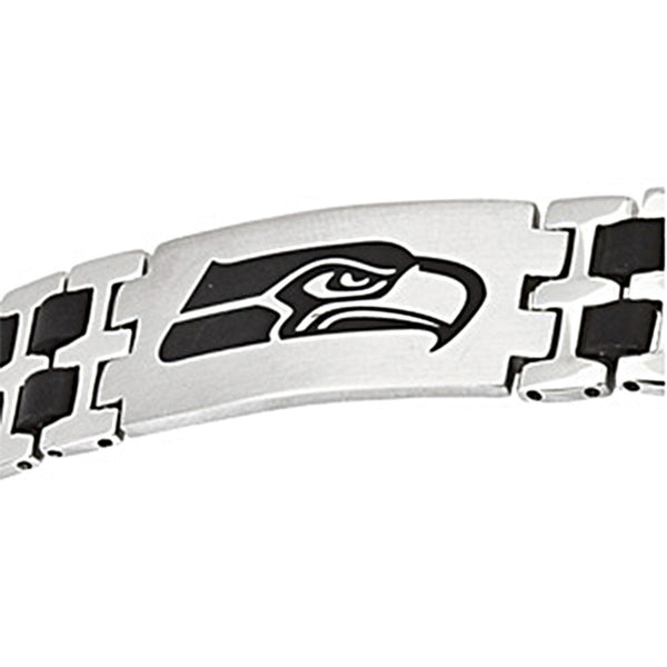 Stainless Steel Seattle Seahawks Rubber Logo ID Bracelet