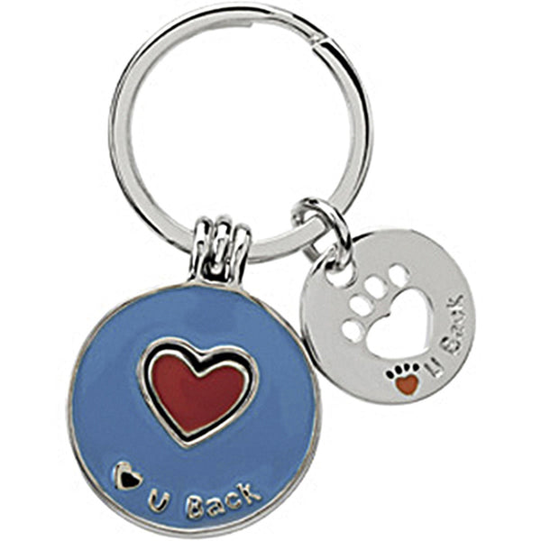 Heart U Back Sterling Silver Light Blue and Red Heart Companion Key Ring
