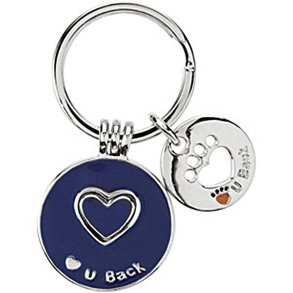 Heart U Back Sterling Silver Navy Blue Companion Key Ring