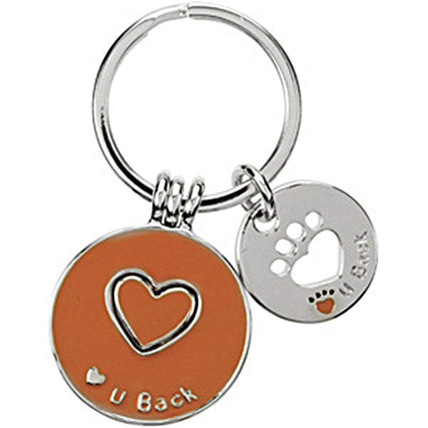 Heart U Back Sterling Silver Orange Companion Key Ring