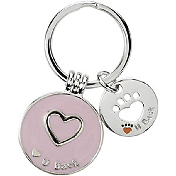 Heart U Back Sterling Silver Pink Companion Key Ring