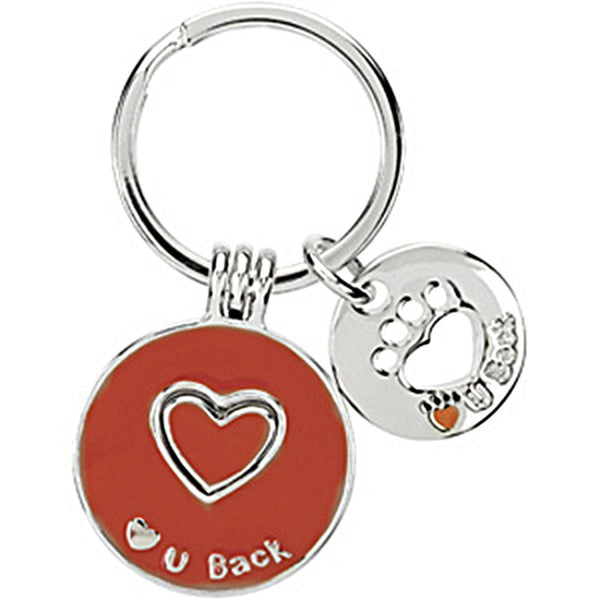 Heart U Back Sterling Silver Red Companion Key Ring